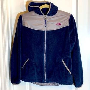 North Face girls blue/silver jacket